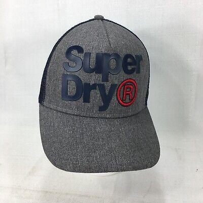 SuperDry Logo Snapback  Adjustable Fit Cap Trucker Mesh Back Navy/Grey