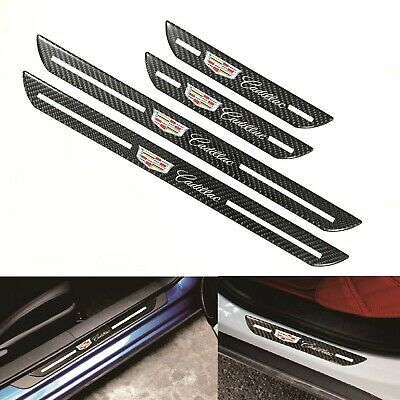 4Pcs Cadillac Carbon Fiber Car Door Welcome Plate Sill Scuff Cover Panel Sticker