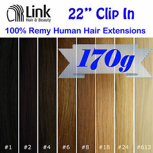 22-Premium-Clip-In-Remy-Human-Hair-Extension-Thick-Black-Brown-Blonde