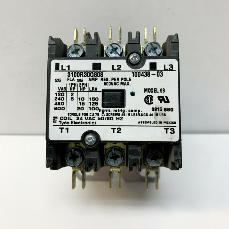 Tyco Electronics LENNOX Contactor 100438-03 3100R30Q808 95M57 24V 25A 3PDT 3PH