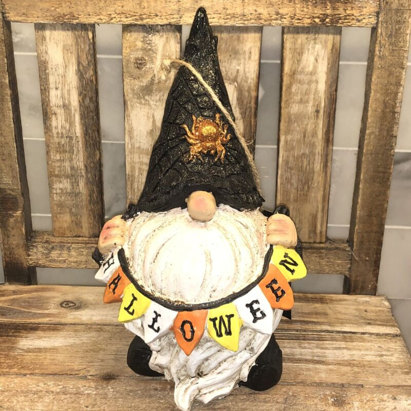 """Halloween Gnome wirh Flag Banner That Spells Out """"Halloween"""""""