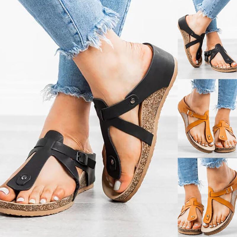 Women's Flip Flops Platform Ankle Strap Sandals Low Wedge Su