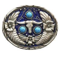Western Fibbia Della Cintura Teschio Fiore Blu Nuovo -  - ebay.it