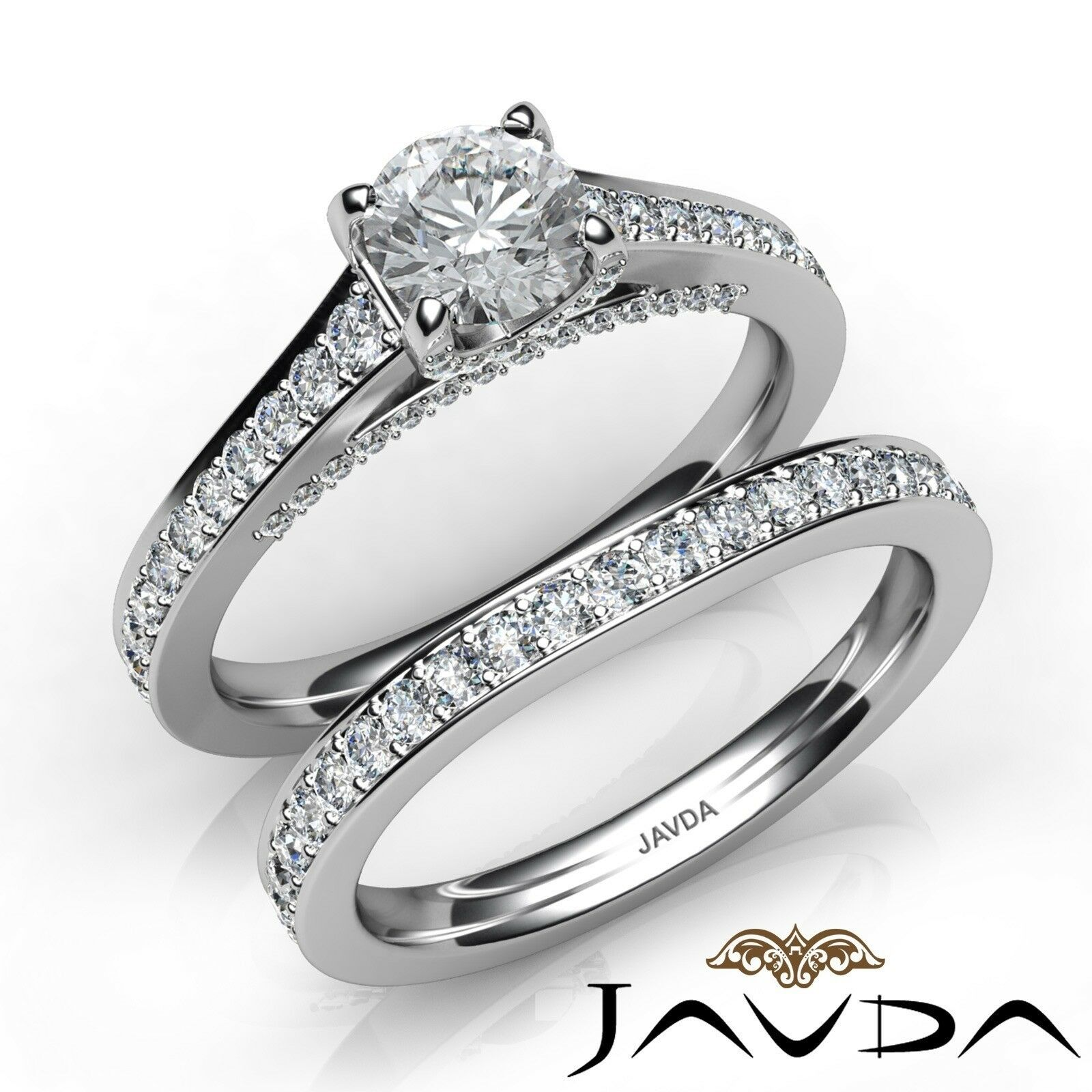 1.85ctw Pave Classic Bridal Set Round Diamond Engagement Ring GIA F-VVS2 W Gold
