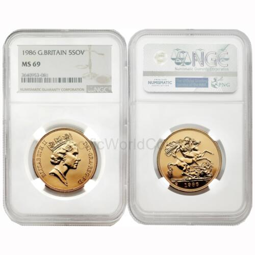 Great Britain 1986 5 Sovereign Gold NGC MS69