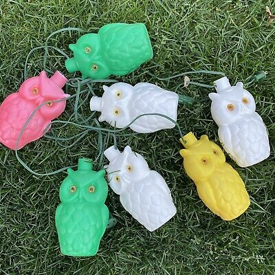 Vintage Owl Blow Mold Plastic 7 String Lights Camping RV Tiki Patio Party