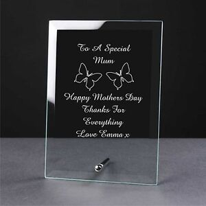 Personalised Engraved Glass Mothers Day Gift Plaque, Mum, Mom, Mummy Nan Grandma