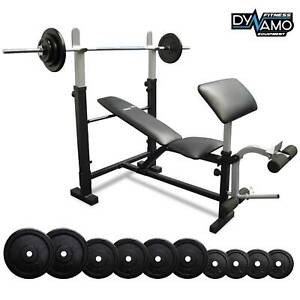 Bench Press 1.8m Barbell 55kg Package Preacher Pad NEW in BOX