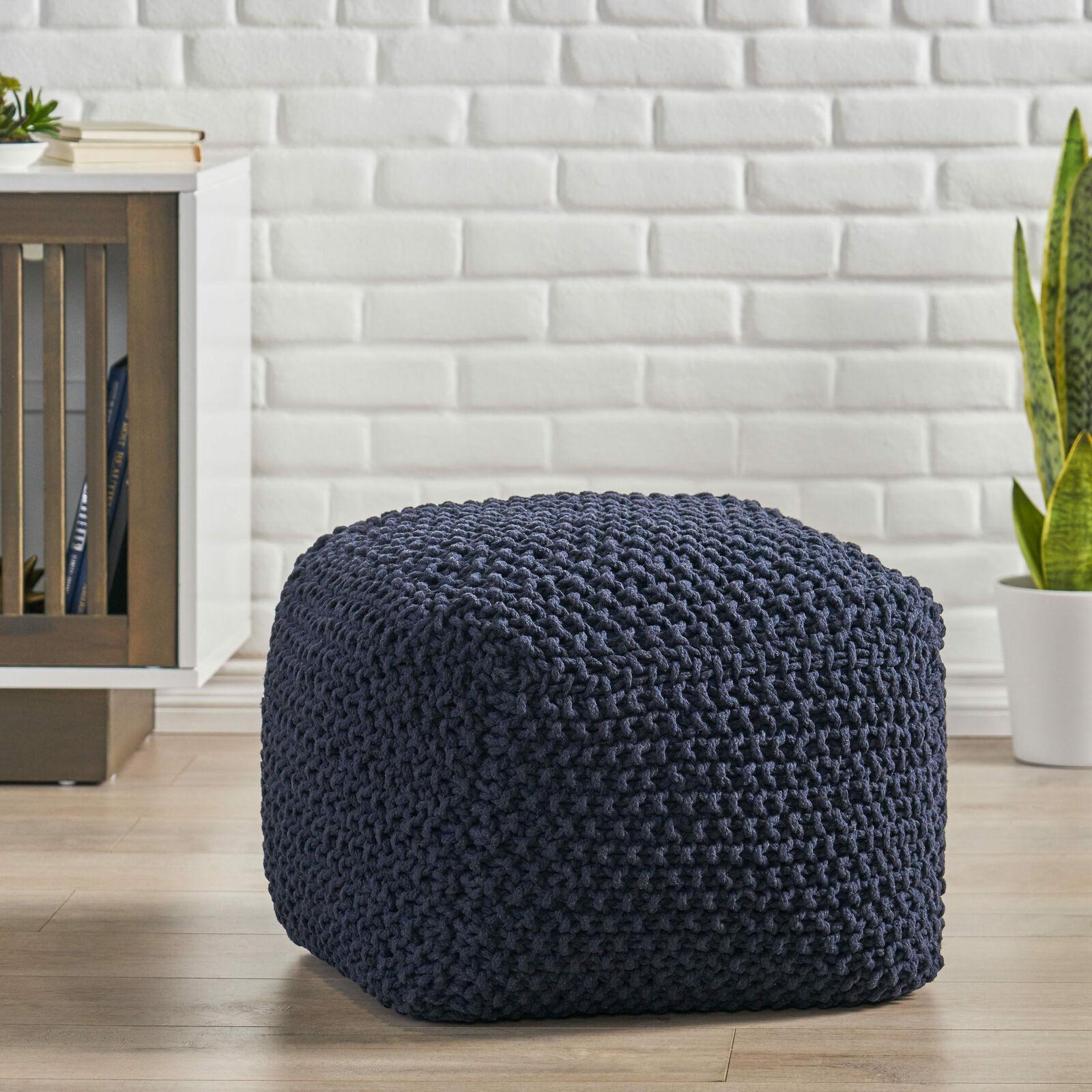 Teresa Modern Knitted Cotton Cube Pouf Furniture