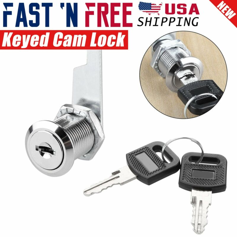 """1/2"""" inch Drawer & Cabinet Keyed Cam Lock Chrome Finished with 2 Keys"""