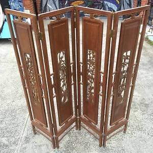 Oriental screen,4 panel room divider,teak divider WE CAN DELIVER Brunswick Moreland Area Preview
