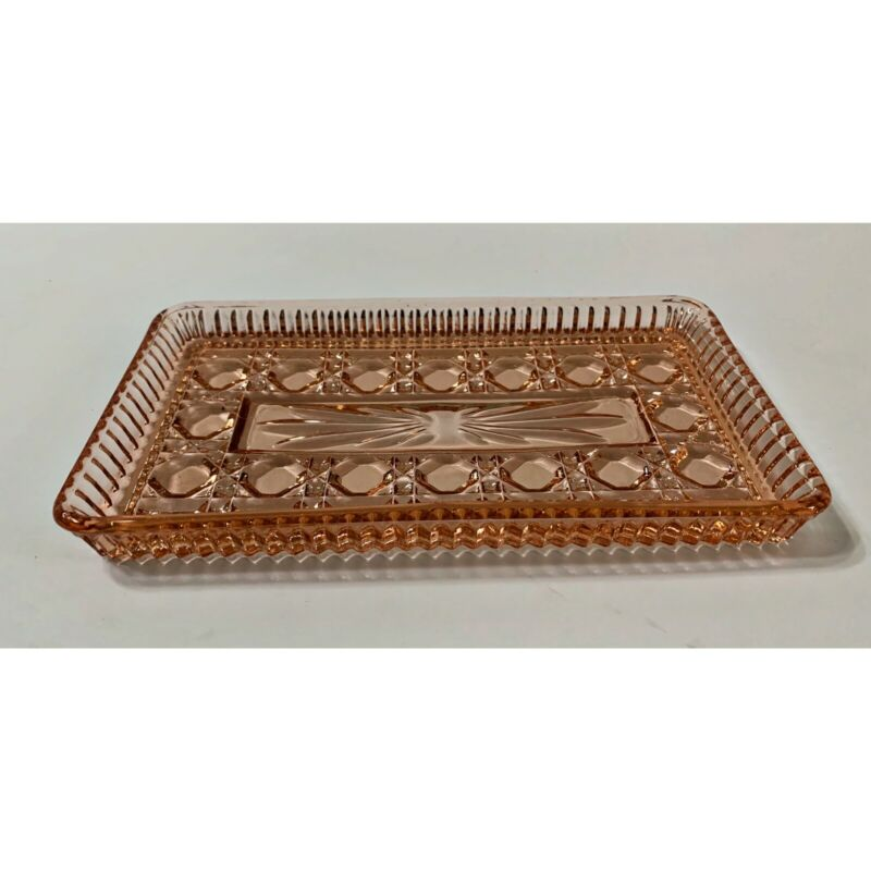 Vintage Federal Pink Glass Windsor Button Cane Relish Tray Dish