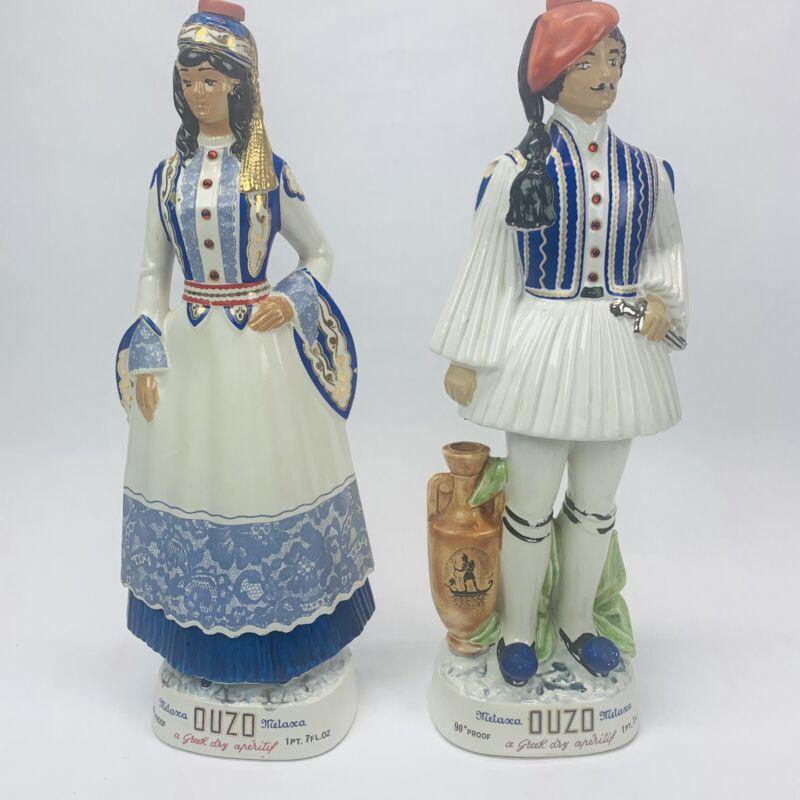 "Metaxa OUZO Man & Woman Greek Vintage Empty 18.5"" Liquor Decanters"
