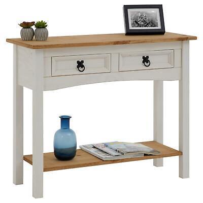 Konsolentisch Schreibtisch Beistelltisch im Mexiko Stil Kiefer massiv weiß/braun ()