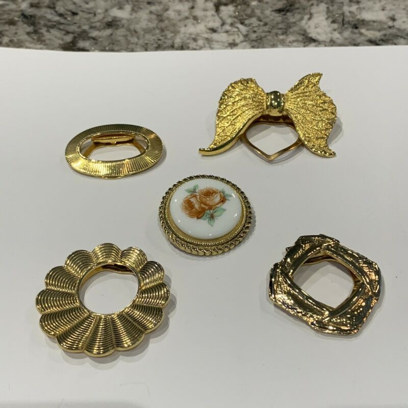 Lot Of 5 Vintage - Modern Scarf Clips Gold Tone