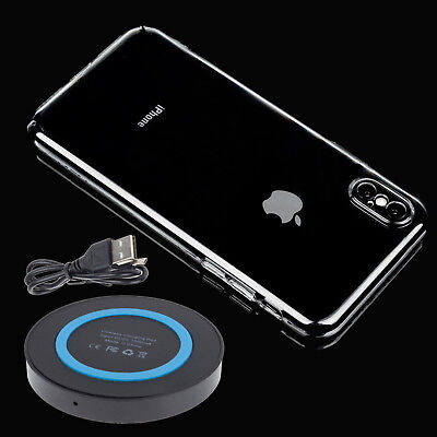 Qi Wireless Charger Charging Pad+Hard Clear Case For Apple iPhone X XR XS Max 8+