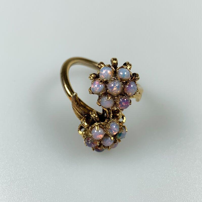 Vintage, Estate, Ring, Foil Back Opal, Glass, Gold Tone, Size 7
