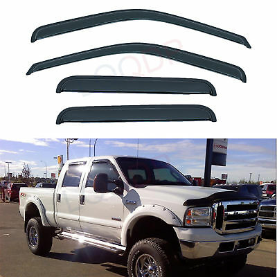 4pcs Vent Window Visors Fit 99-16 Ford F250/F350/F450/F550 Super Duty Crew Cab 4d Front Passenger Door