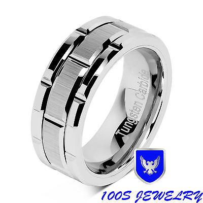 8mm Men's Tungsten Carbide Ring Silver Wedding Band Brick...