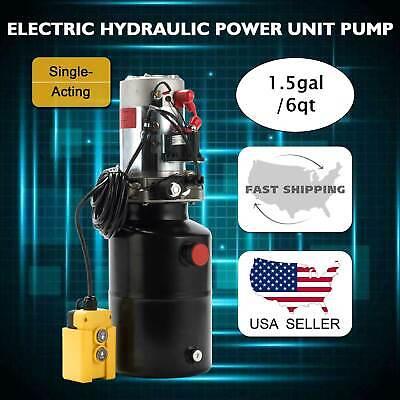 Single Acting Hydraulic Pump Trailer 6 Quart Reservoir 12 Volt Remote Control