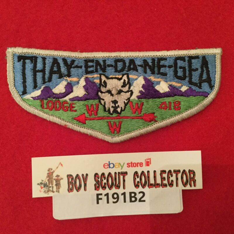 Boy Scout OA Thay-En-Da-Ne-Gea Lodge 418 S3 Order Of The Arrow Pocket Flap Patch