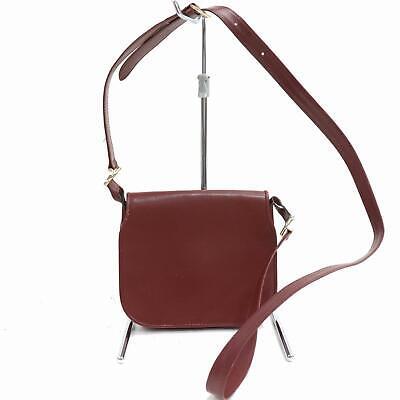 Authentic Cartier Shoulder Bag  Burgundy Leather 380644