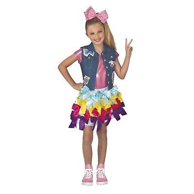 Child Girl's Jojo Siwa Dancer Actress Rainbow Bows Halloween Costume Dress S M L