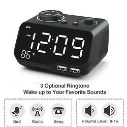 Digital Dual Alarm Clock Radio with USB Charging Port,Temperature& Large Display