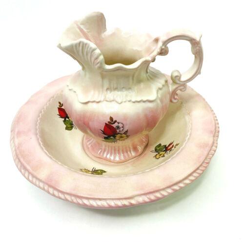 Arnels Small Porcelain  Pitcher Bowl Basin Vanity Dresser Set Pink Flowers 1975