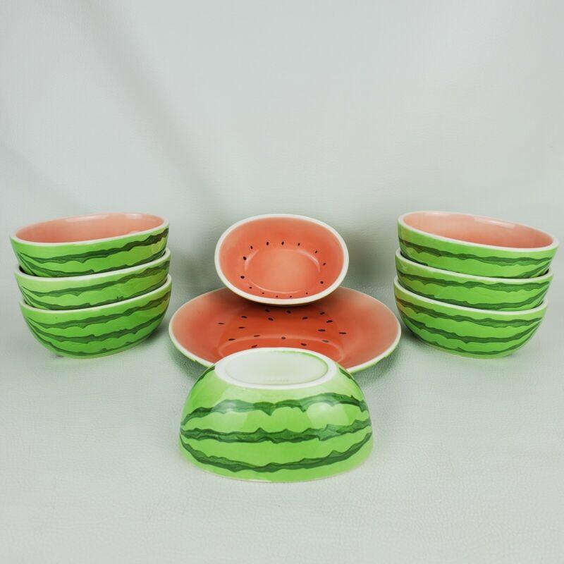 Pier 1 9 pc Watermelon Ceramic 8 Fruit Dessert Bowls & Serving Plate Japan Made