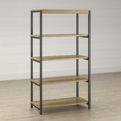 Kayden 5 Shelf Bookcase, Golden Oak Metal Oak Bookcase