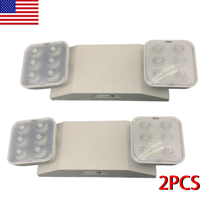 2Pack LED Emergency Exit Light Battery Backup & Adjustable Two Heads, UL-Listed