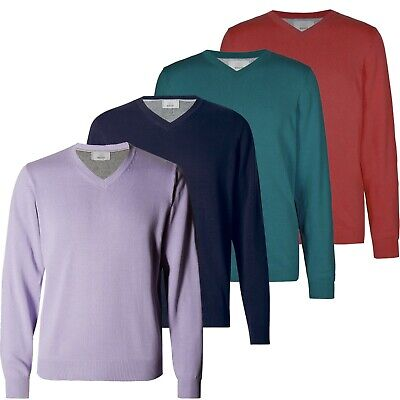 Marks & Spencer Mens V Neck Long Sleeve Cotton Jumpers New M&S Sweater Pullovers
