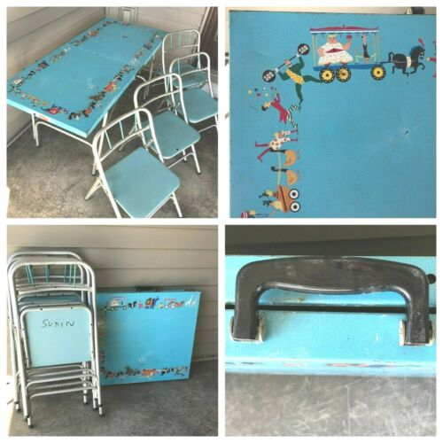 Vintage 1950s All Luminum Prod Inc Circus Blue Metal Kids Folding Table 4 Chairs