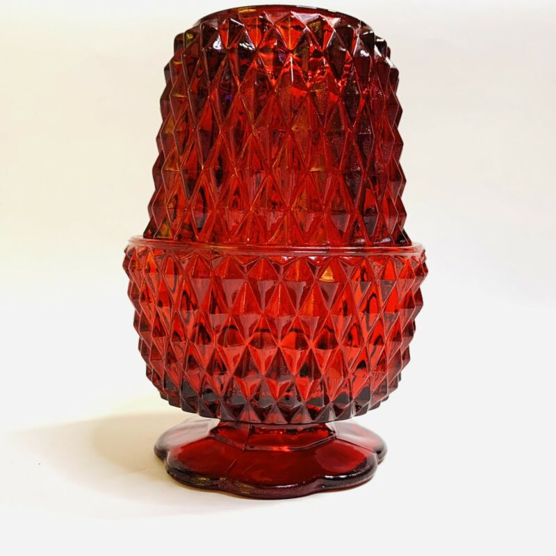 Vintage Indiana Glass Ruby Red Flash Diamond Point Fairy Lamp 5 1/4