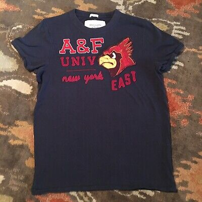 Abercrombie Fitch University Cardinal Large Muscle Navy Blue Stitched T Shirt NY