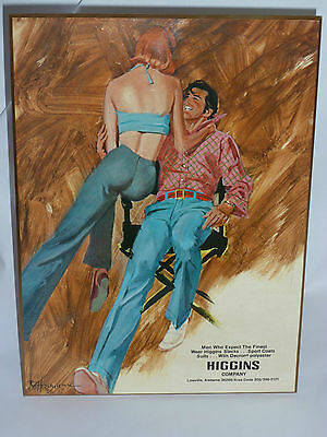 VINTAGE 1960s-70s HIGGINS SLACKS SEXY STORE COUNTER ADVERTISING SIGN!  - 70s Clothes Store