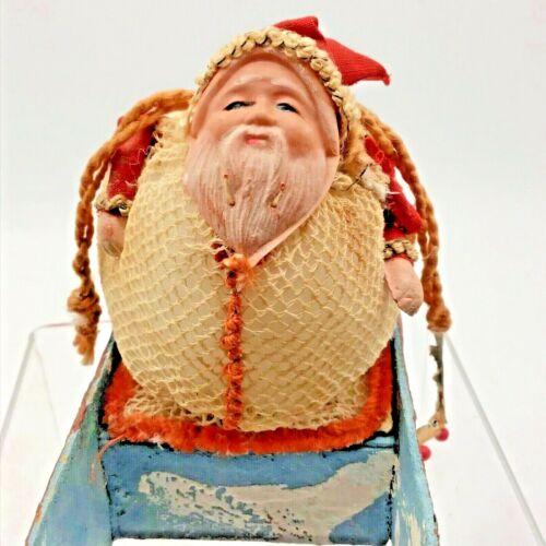 Antique Christmas Santa Sleigh Sled Candy Container w Drawstring Mesh Bag Sack