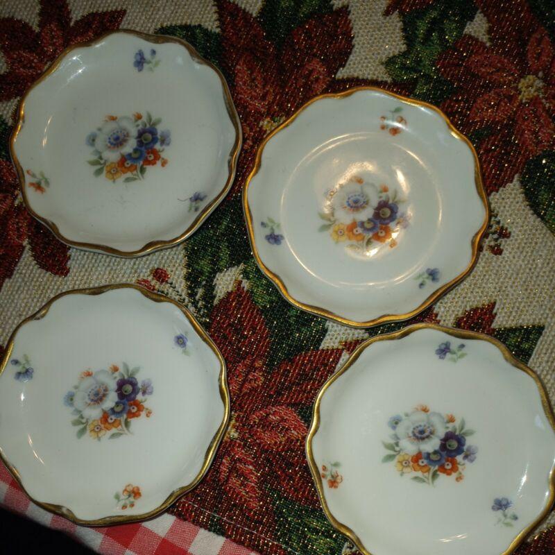 Vintage Bavaria Floral Butter Pats RC crysantheme Charlotte gold rim Lovely