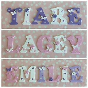new babygirls name wooden letter bedroom nursery door wall art any colourtheme