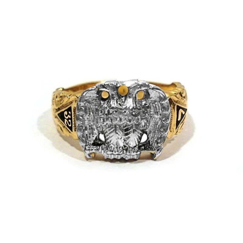 SOLID 14K YELLOW GOLD & PALLADIUM ENAMEL DECORATED MASONIC RING ~ SIZE 11 1/2