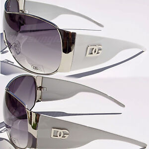 DG Sunglasses One Piece Shield Style Womens Fashion Aviator White Silver DG7220