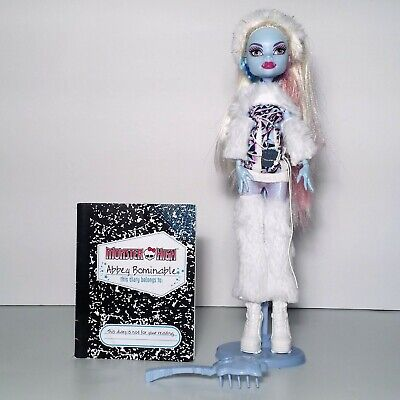 Monster High First Wave Abbey Bominable Doll w/ Stand Brush Diary Mattel