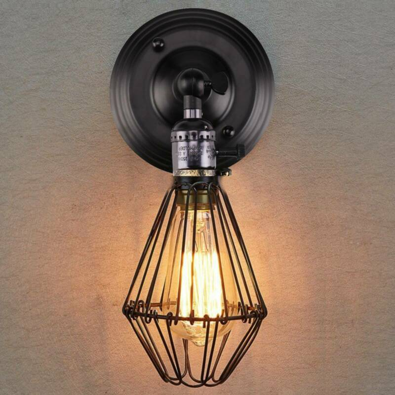 E27 Vintage Industrial Retro Wall Lights Fittings Indoor Sconce Iron Metal Lamp Ebay