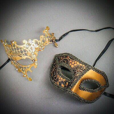 GOLD Couple's Masquerade Party Masks Set for Men & Women Venetian Phantom Opera