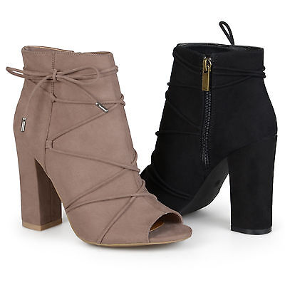 Brinley Co Womens High Heel Strappy Faux Suede Peep Toe Boots New