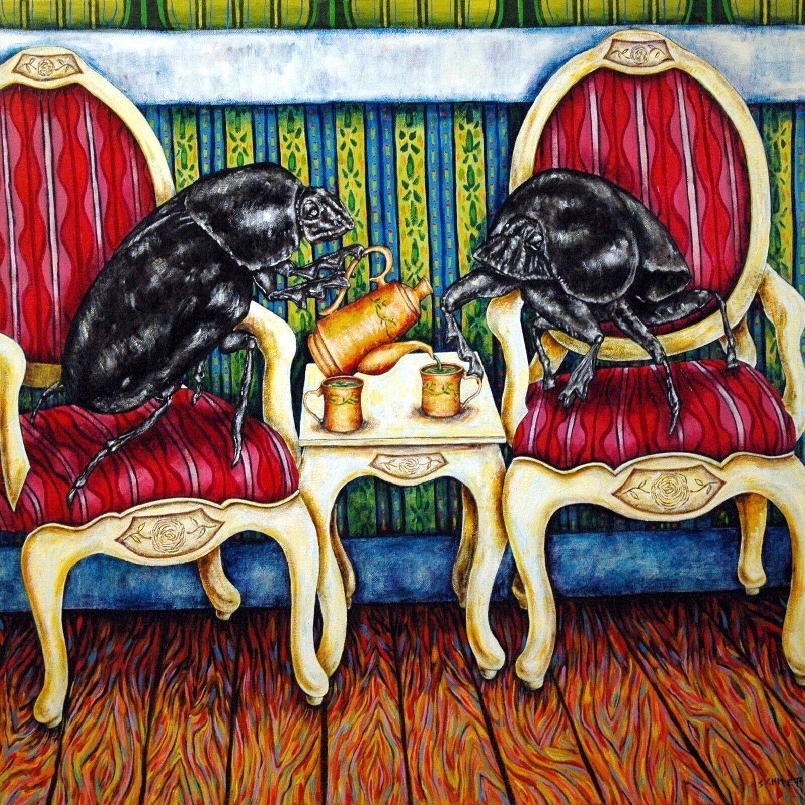 BUTTERFLY tea 4x6 glossy  art PRINT impressionism artist animals gift