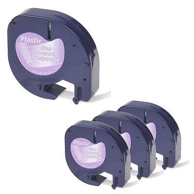 4pk Compatible Dymo 16952 Letratag Blackclear Letratag Lt-100 Label Refill Tape