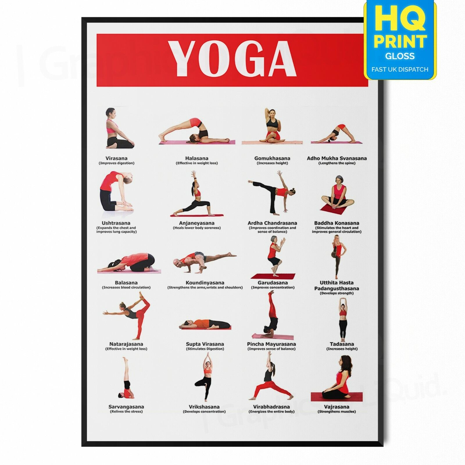 Details about YOGA POSES CHART POSTER POSTURES Wall Art Print Gift FITNESS  CHART