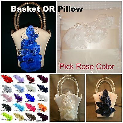 IVORY Satin Flower Girl Basket OR Wedding Ring Pillow  PICK ROSE COLOR ](Wedding Baskets)